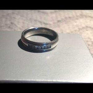 Men's Titanium/Silver Diamond Ring Sz13
